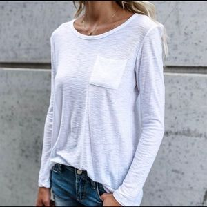 Tops - White Long Sleeve Pocket T -Shirt New Size XL